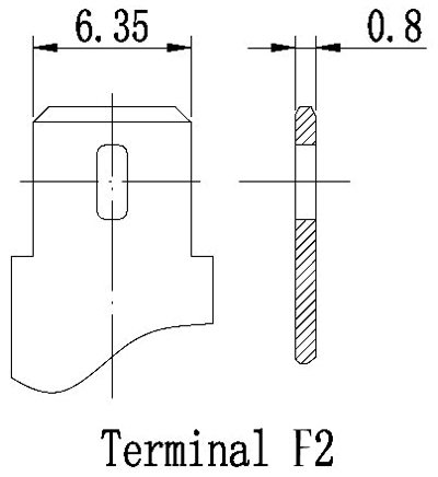 TLV1272F2 - 12V 7.2Ah Sealed Lead Acid Battery with F2 Terminals - Terminal Diagram