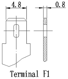 TLV1290F1 - 12V 9Ah Sealed Lead Acid Battery with F1 Terminals - Terminal Diagram