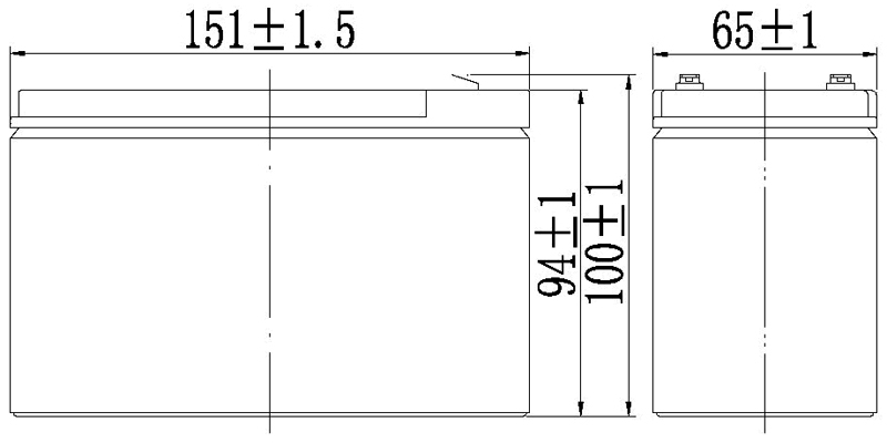TLV1290F2 - 12V 9Ah Sealed Lead Acid Battery with F2 Terminals - Side Diagram
