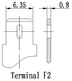 TLV1290F2 - 12V 9Ah Sealed Lead Acid Battery with F2 Terminals - Terminal Diagram