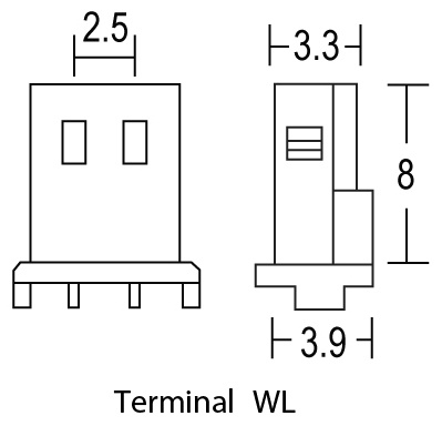 TLV605 - 6V 0.5Ah Sealed Lead Acid Battery with WL Terminals - Terminal Diagram
