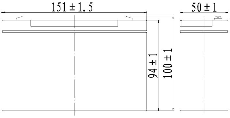 TLV6100F2 - 6V 10Ah Sealed Lead Acid Battery with F2 Terminals - Side Diagram