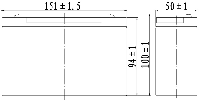 TLV6120F2 - 6V 12Ah Sealed Lead Acid Battery with F2 Terminals - Side Diagram