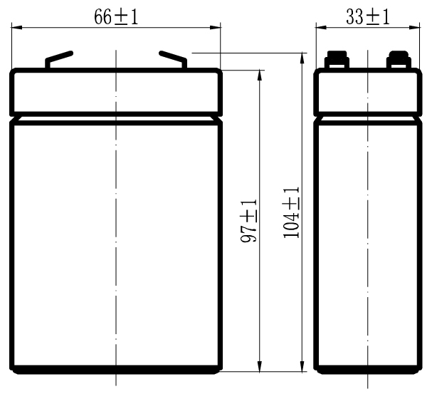 TLV628 - 6V 2.8Ah Sealed Lead Acid Battery with F1 Terminals - Side Diagram