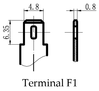 TLV628 - 6V 2.8Ah Sealed Lead Acid Battery with F1 Terminals - Terminal Diagram