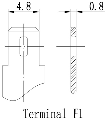 TLV635F - 6V 3.5Ah Sealed Lead Acid Battery with F1 Terminals - Terminal Diagram