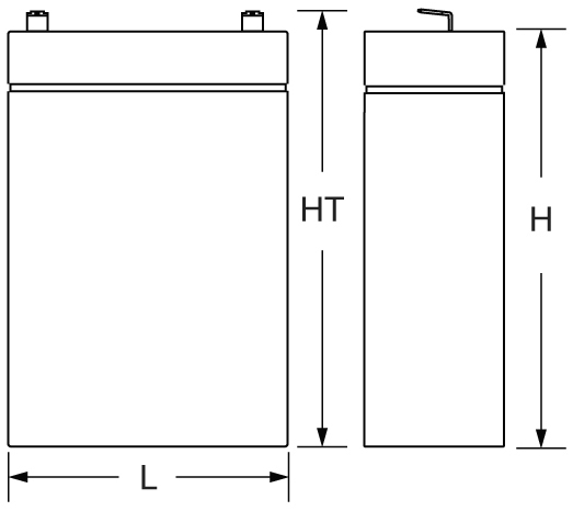 TLV635T - 6V 3.5Ah Sealed Lead Acid Battery with F1 Terminals - Side Diagram