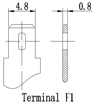 TLV642 - 6V 4.2Ah Sealed Lead Acid Battery with F1 Terminals - Terminal Diagram