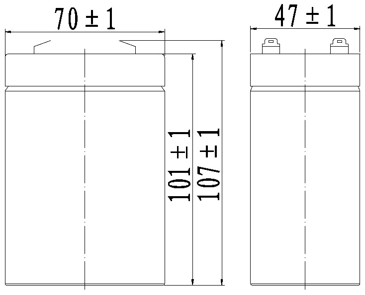 TLV645 - 6V 4.5Ah Sealed Lead Acid Battery with F1 Terminals - Side Diagram