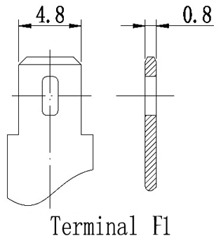 TLV645 - 6V 4.5Ah Sealed Lead Acid Battery with F1 Terminals - Terminal Diagram