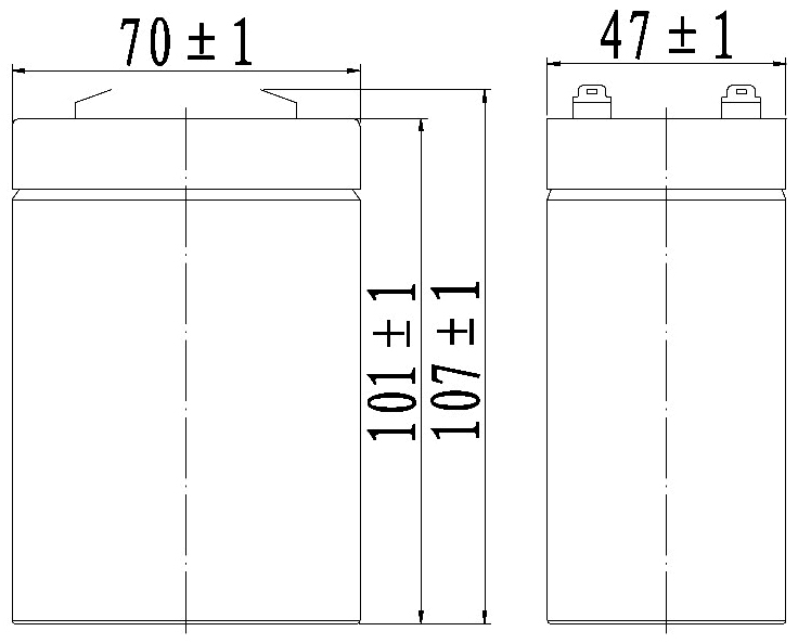 TLV650 - 6V 5Ah Sealed Lead Acid Battery with F1 Terminals - Side Diagram