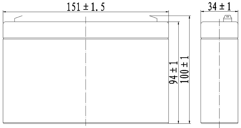 TLV672 - 6V 7.2Ah Sealed Lead Acid Battery with F1 Terminals - Side Diagram