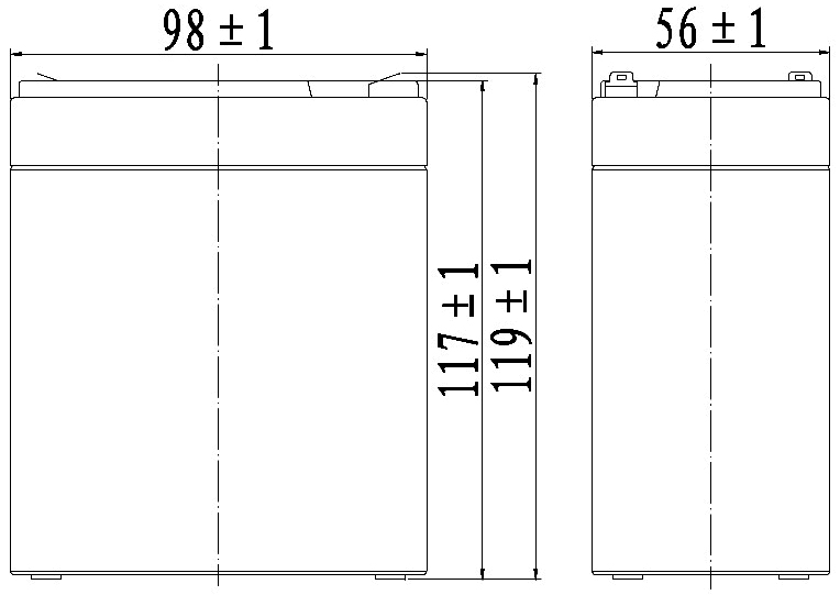 TLV685 - 6V 8.5Ah Sealed Lead Acid Battery with F1 Terminals - Side Diagram