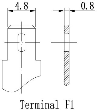 TLV685 - 6V 8.5Ah Sealed Lead Acid Battery with F1 Terminals - Terminal Diagram