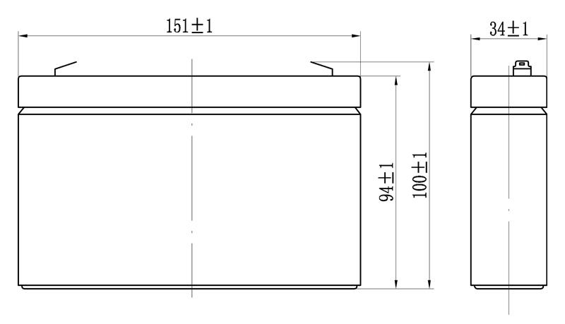 TLV690F1 - 6V 9Ah Sealed Lead Acid Battery with F1 Terminals - Side Diagram