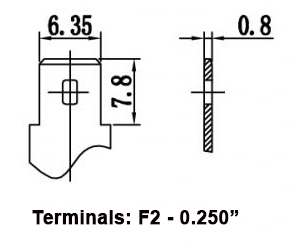 TLV690F2 - 6V 9Ah Sealed Lead Acid Battery with F2 Terminals - Terminal Diagram
